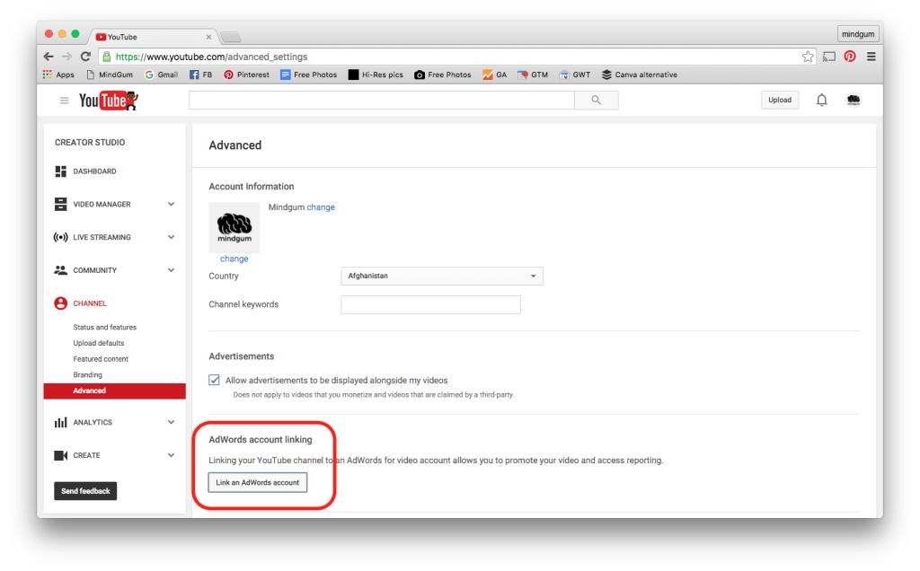 "screenshot of YouTube advanced settings with the button ""link adwords account"""