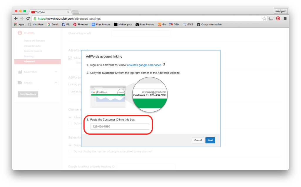screenshot van het invullen van je adwords customer id binnen youtube advanced settings