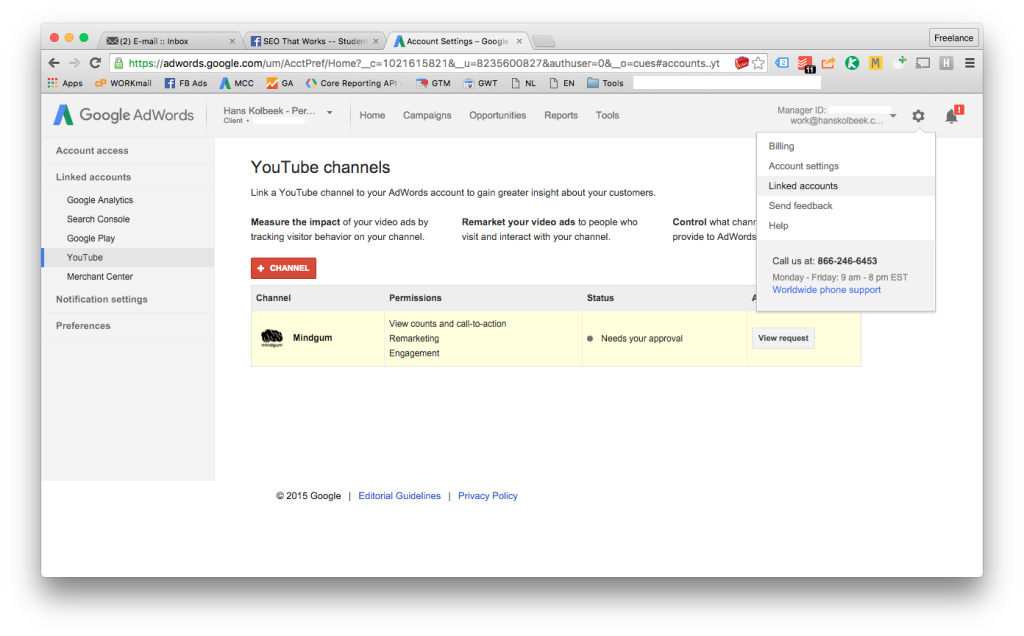 screenshot van het AdWords in het menu om YouTube accounts te linken - stap 5