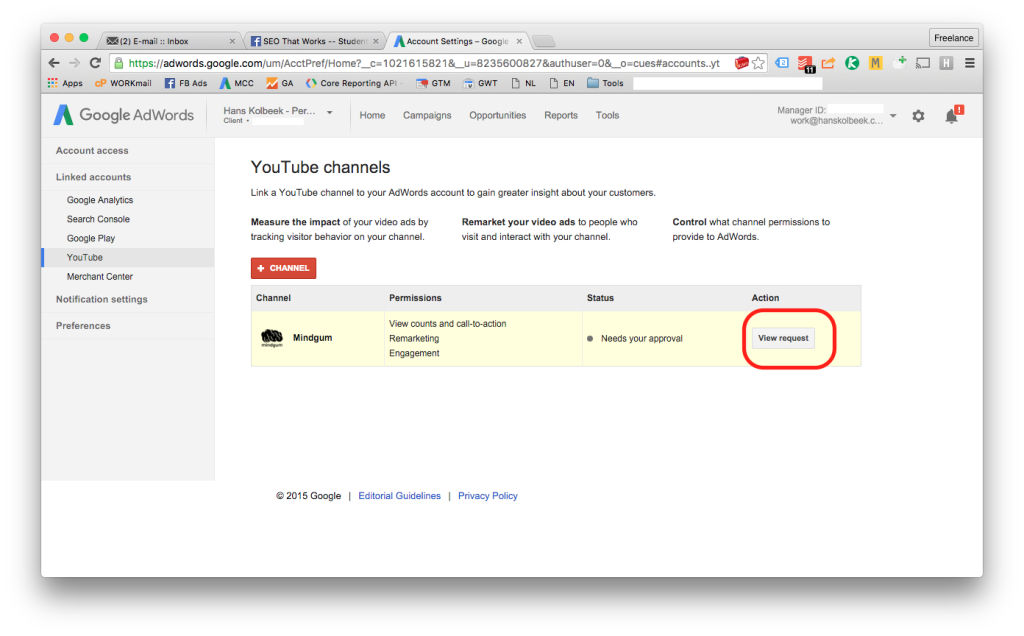 screenshot van adwords account linking met youtube - stap 6